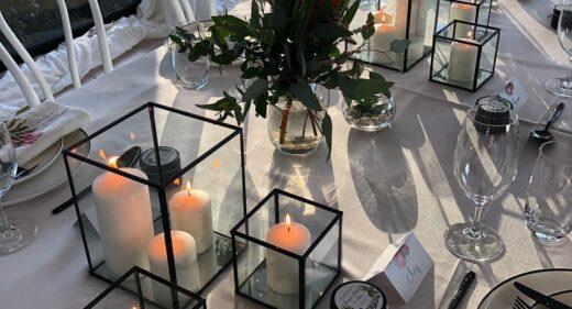 black rectangular lantern